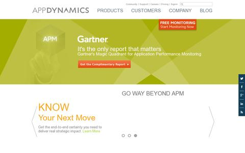Screenshot of Home Page appdynamics.com - Application Performance Management & Monitoring | APM | AppDynamics - captured July 11, 2014