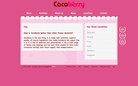 Screenshot of FAQ Page cocoberry.co.in - Cocoberry Restaurants & Distributors Pvt. Ltd. - captured Sept. 30, 2014