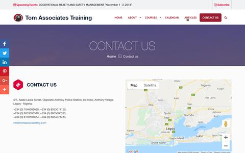 Screenshot of Contact Page tomassociatesng.com - Contact Us - Tom Associates Training - captured Oct. 18, 2018