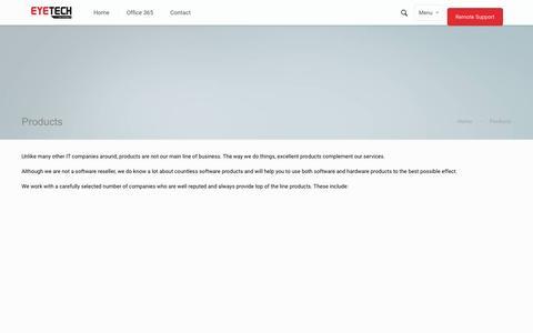 Screenshot of Products Page eyetechltd.com - Products   Eyetech LtdEyetech Ltd - captured Sept. 27, 2015