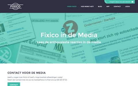Screenshot of Press Page fixico.nl - Media | Fixico - captured Oct. 6, 2014