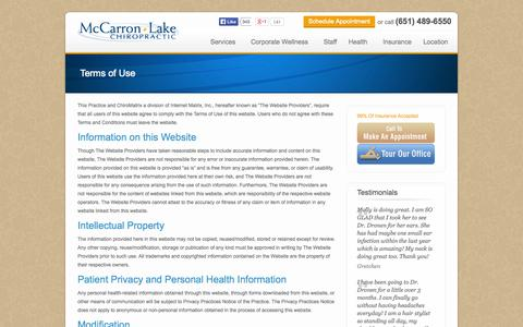 Screenshot of Terms Page mlchiro.com - Terms of Use | McCarron Lake Chiropractic - captured Oct. 4, 2014