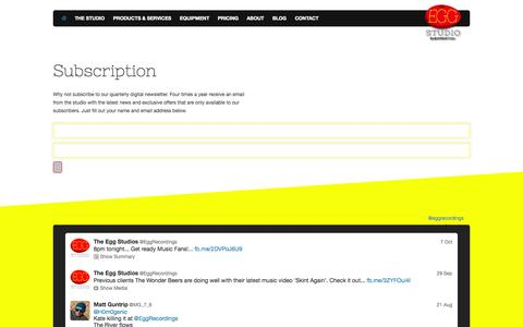 Screenshot of Signup Page the-egg-recording-studio.com - Subscription | The Egg Recording Studios Surrey and Middlesex - captured Oct. 26, 2014