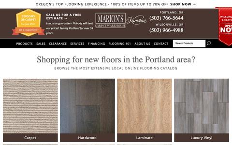 Screenshot of Products Page marionscarpets.com - Shop for flooring in Portland, OR  from Marion's Carpet Warehouse - captured Oct. 2, 2018