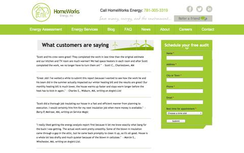 Screenshot of Testimonials Page homeworksenergy.com - Customer Reviews | Homeworks Energy - captured Sept. 30, 2014