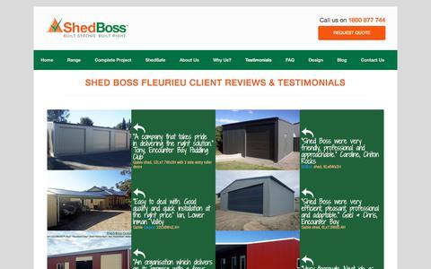 Screenshot of Testimonials Page shedbosssheds.com.au - Shed Boss Fleurieu Reviews and Feedback - captured Oct. 26, 2017