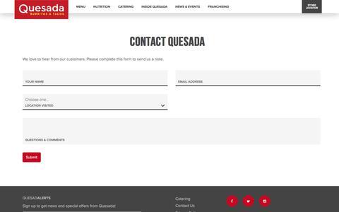 Screenshot of Contact Page quesada.ca - Contact Us|Quesada | The Joy of Mex - captured July 15, 2017
