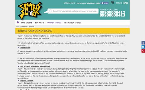 Screenshot of Terms Page campussutra.com - Terms and Conditions - captured Sept. 22, 2014