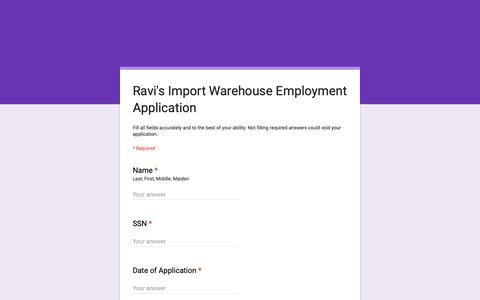 Screenshot of Jobs Page google.com - Ravi's Import Warehouse Employment Application - captured Nov. 16, 2018