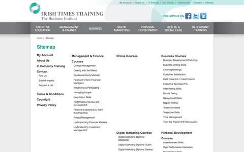 Screenshot of Site Map Page irishtimestraining.com - Sitemap - Irish Times Training - captured Sept. 30, 2014
