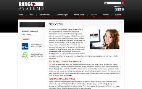 Screenshot of Services Page range-systems.com - Live Fire Training Facilities  | Range-Systems - captured Oct. 26, 2014