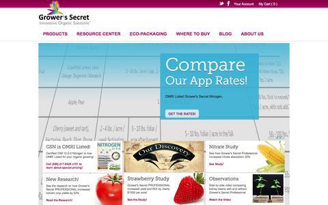 Screenshot of Home Page growerssecret.com - Grower's Secret Garden & Lawn - Natural & Organic Garden Fertilizer - captured Feb. 2, 2016