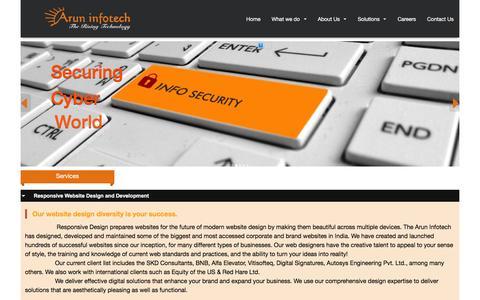 Screenshot of Services Page aruninfotech.com - Arun Infotech - captured Feb. 6, 2016