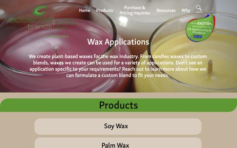 Screenshot of Products Page ecosoyabrands.com - Ecosoya Brands LLC | Products | Waxes - captured Sept. 24, 2018