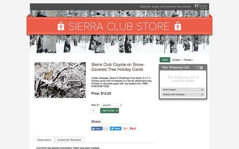Screenshot of sierraclub.org - Sierra Club Coyote on Snow-Covered Tree Holiday Cards – Sierra Club Online Store - captured Aug. 18, 2016