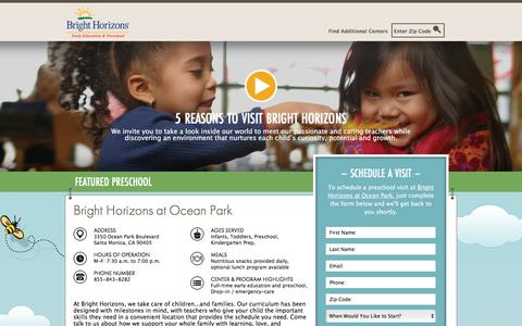 Screenshot of Landing Page brighthorizons.com - Bright Horizons® | Child Care, Back-Up Care, Early Education, and Work/Life Solutions - captured Sept. 7, 2017