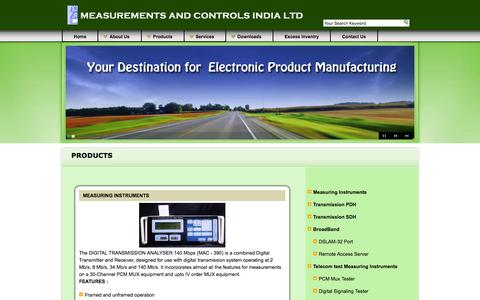 Screenshot of Products Page macil.in - Measurements & Controls India Limited, Bangalore,India,Telecom Equipment Manufacturer, EMS, PCB,MACIL - captured March 4, 2016