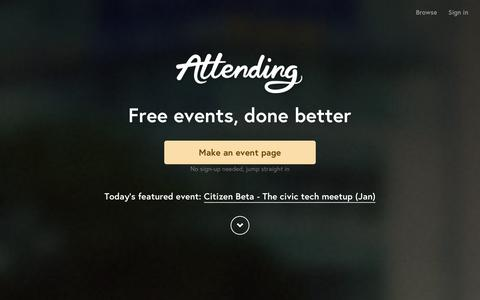 Screenshot of Home Page attending.io - Attending — Free events, done better - captured Dec. 23, 2015