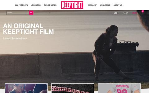 Screenshot of Home Page keeptight.com - KEEPTIGHT® - Wear Your Strength®| Buy Women's Fitness Apparel Online | Order Workout Clothes for Women | Fitness Shirts, Capris, Shorts, Tank Tops, Pants, Hoodies, and Wristband for Girls - captured Aug. 6, 2015
