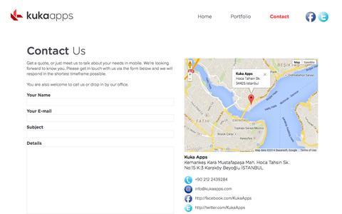 Screenshot of Contact Page kukapps.com - Kuka Apps   Contact Us - captured Oct. 27, 2014