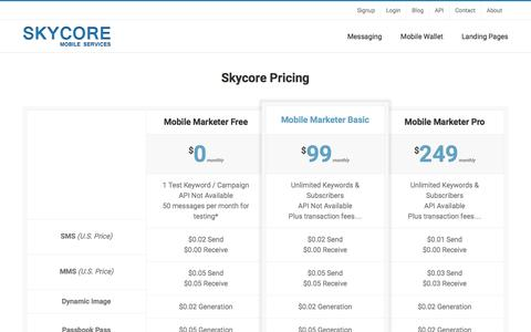Screenshot of Pricing Page skycore.com - Pricing for SMS, MMS, Landing Pages, Passbook - Skycore - captured July 23, 2016