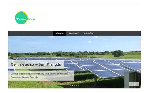 Screenshot of Home Page Menu Page terrawatt.net - Terra Watt | L'énergie sous contôle - captured Oct. 7, 2014