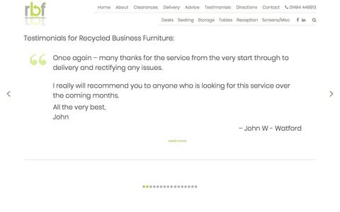 Screenshot of Testimonials Page recycledbusinessfurniture.co.uk - Testimonials | Reviews | Recycled Business Furniture - captured Oct. 27, 2017