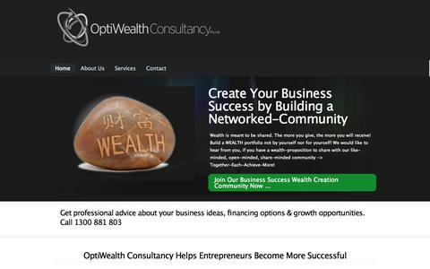 Screenshot of Home Page Services Page optiwealthconsultancy.com - OptiWealth Consultancy Pty Ltd | ABN: 88 165 249 945 |  ALL RIGHTS RESERVED - captured Oct. 9, 2014