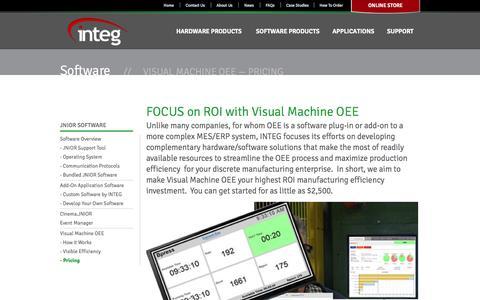 Screenshot of Pricing Page integpg.com - Visual Machine OEE Pricing | INTEG Process Group - captured Oct. 3, 2014