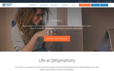 Screenshot of Jobs Page qasymphony.com - Careers - QASymphony - captured July 19, 2019