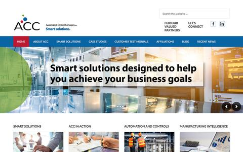 Screenshot of Home Page automated-control.com - Automated Control Concepts – Smart solutions. - captured Oct. 9, 2017