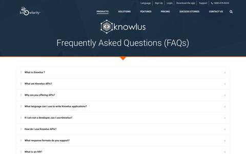 Screenshot of FAQ Page knowlarity.com - IVR Studio and IVR Solutions India - Knowlarity - captured Nov. 17, 2015