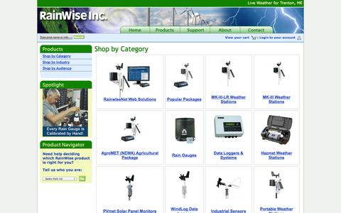 Screenshot of Products Page rainwise.com - Shop by Category | RainWise - captured Sept. 22, 2014