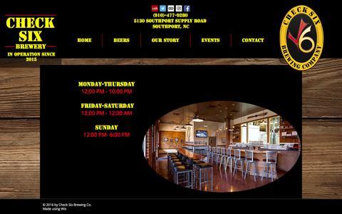 Screenshot of Hours Page checksixbeer.com - checksixbrewery | Hours - captured Nov. 22, 2016