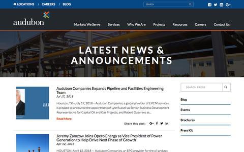 Screenshot of Press Page auduboncompanies.com - Latest News - Audubon Companies - captured Aug. 10, 2018