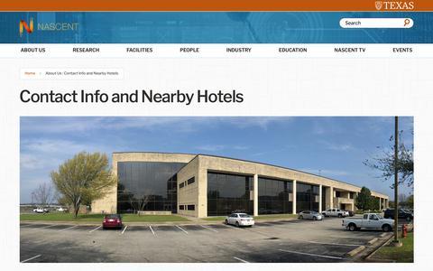 Screenshot of Contact Page utexas.edu - Contact Info and Nearby Hotels | Nascent | The University of Texas at Austin - captured Oct. 18, 2018