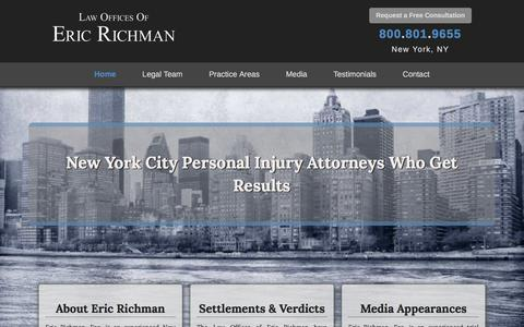 Screenshot of Home Page richman-law.com - New York City Personal Injury Attorney   Richman Law - captured April 24, 2017