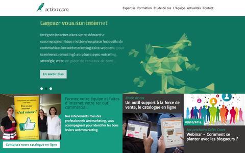 Screenshot of Home Page actioncom.fr - creation web et formation webmarketing sur Saint_Etienne Montbrison Roanne - captured Sept. 30, 2014