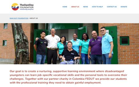 Screenshot of About Page daneleyfoundation.org - The Dan Eley Foundation - About us - training disadvantaged youth - captured Sept. 24, 2018
