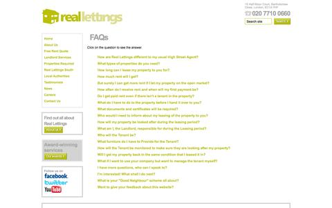 Screenshot of FAQ Page reallettings.com - Reallettings - captured Oct. 26, 2014