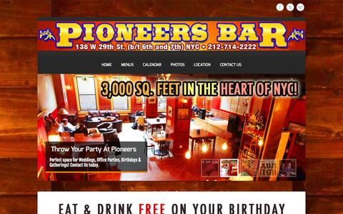 Screenshot of Home Page pioneersbar.com - Pioneers Bar NYC - captured Oct. 2, 2014