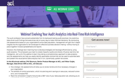Screenshot of Landing Page acl.com - Evolving Your Audit Analytics into Real-Time Risk Intelligence - captured April 20, 2018