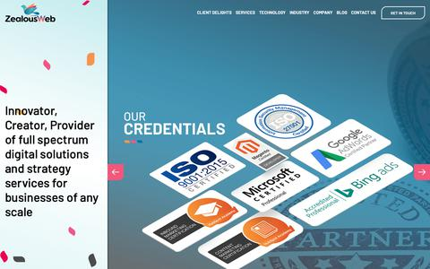 Screenshot of Home Page zealousweb.com - Web Design & Development | Mobile App Development Company in India - captured Oct. 16, 2018