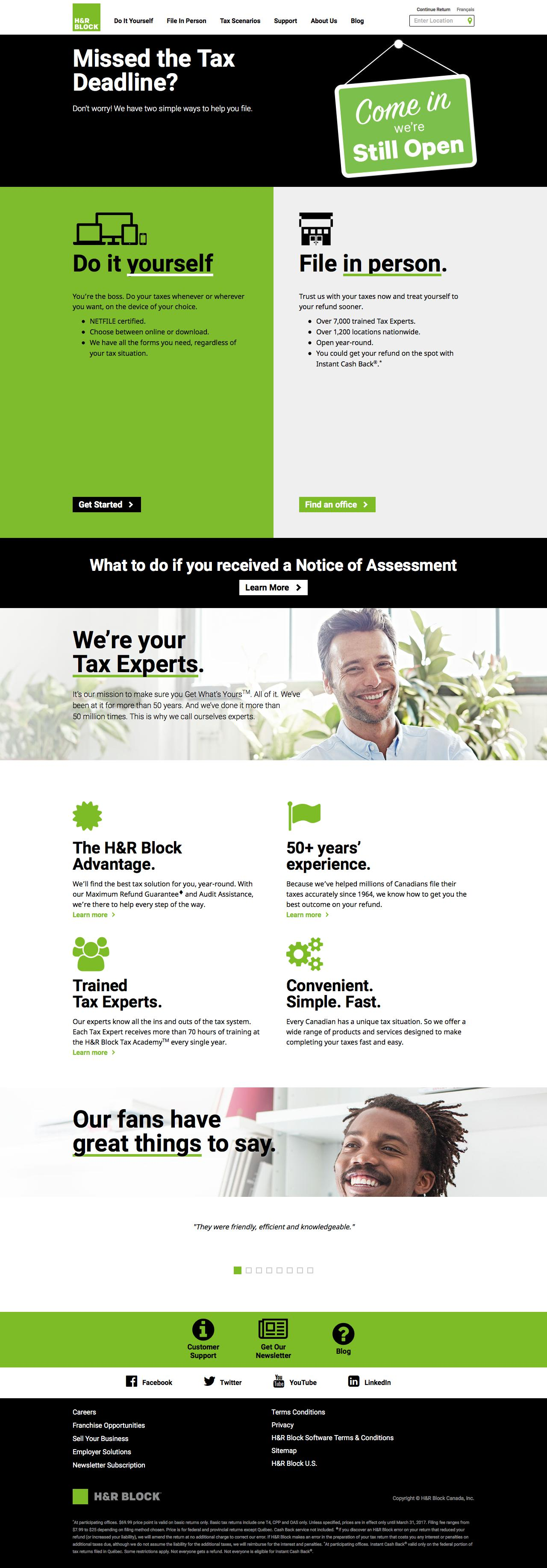 Screenshot of hrblock.ca - Income Tax Preparation & Tax Return Filing For Canadians – H&R Block Canada - captured June 27, 2017