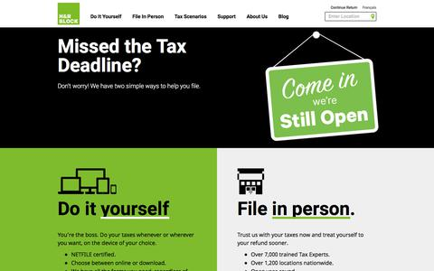 Screenshot of Home Page hrblock.ca - Income Tax Preparation & Tax Return Filing For Canadians – H&R Block Canada - captured June 27, 2017