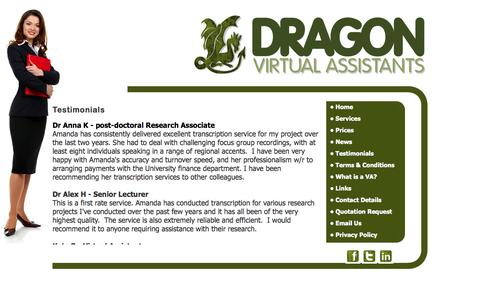 Screenshot of Testimonials Page dragonvirtualassistants.co.uk - Dragon Virtual Assistants provide  secretarial services, Audio Typing Services, word processing, mailshots and mail merge services, proof reading,research, office management, office administration, invoicing, credit control,Telephone answering, call  - captured Sept. 30, 2014
