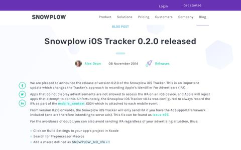 Screenshot of Blog snowplowanalytics.com - Snowplow iOS Tracker 0.2.0 released - captured Feb. 10, 2020