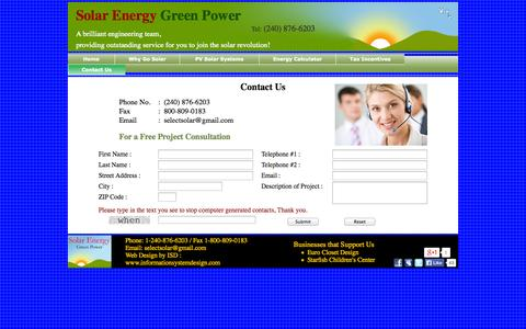 Screenshot of Contact Page solarenergygreenpower.com - Solar Energy Green Power Contact Us - captured Oct. 26, 2014