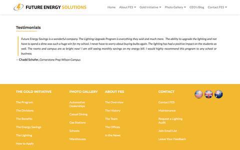 Screenshot of Testimonials Page feslighting.com - Testimonials - Future Energy Solutions - captured Feb. 8, 2018