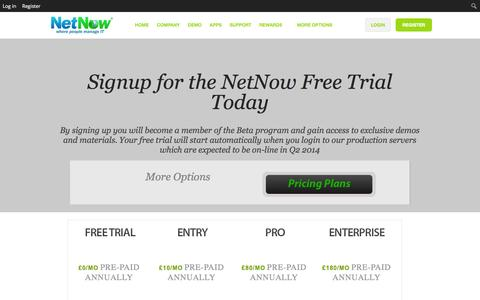 Screenshot of Pricing Page netnow.co - Subscription Services - NetNow - captured Oct. 26, 2014